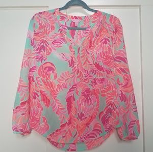 Lilly Pulitzer Stacey Blouse Pool Side Love Birds